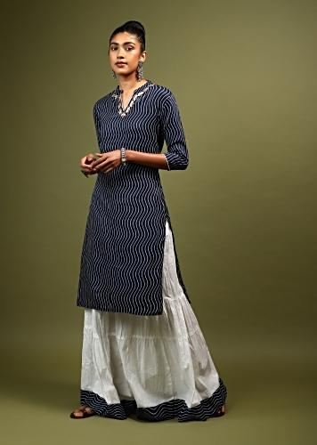 Navy Blue Straight Cut Kurta And Skirt Set In Cotton With Wave Print And Gotta Embroidery On The Neckline Online - Kalki Fashion
