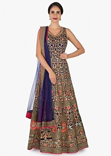 4ecddfde05 Navy blue anarkali suit beautifully designed using the resham and zari  embroidery work only on Kalki