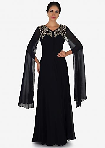Navy Blue Gown In Georgette Crafted With Sequin And Zardosi Embroidery Work Online - Kalki Fashion