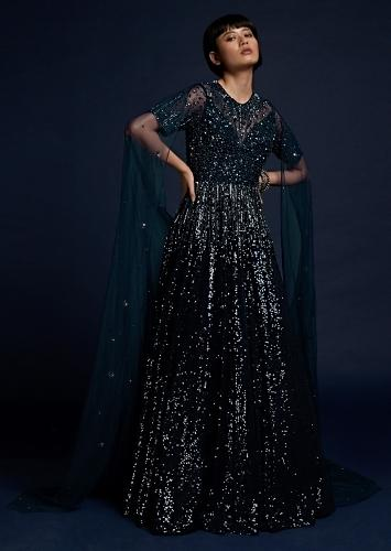 Navy Blue Indowestern Gown In Sequins Fabric With Attached Net Cape And Cut Dana Work On The Bodice Online - Kalki Fashion