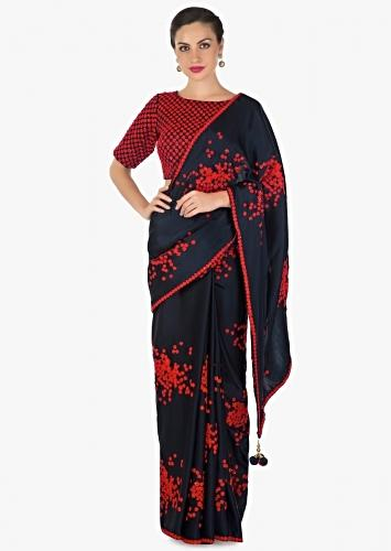 Navy Blue Saree In Satin With Ready Blouse In Red Thread Work Online - Kalki Fashion