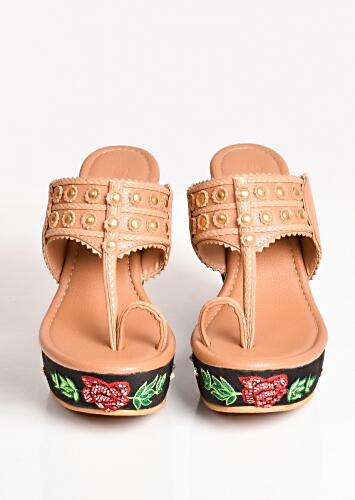 Nude And Black Kolhapuri Wedges With  Red Resham And Cut Dana Embroidered Roses By Sole House
