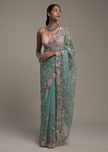 Ocean Green Saree In Organza With Hand Embroidery Work In Floral Design And Unstitched Blouse Online - Kalki Fashion