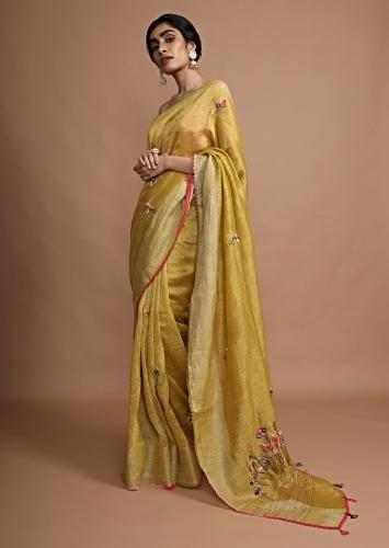 Ochre Yellow Saree In Tussar Silk With Bud Embroidered Floral Buttis Using Colorful Threads Online - Kalki Fashion