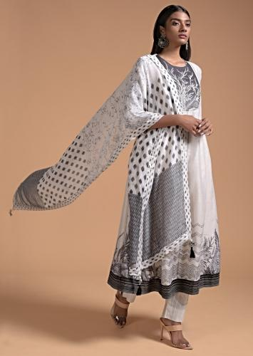 Off White Anarkali Suit In Cotton With Black Floral And Zig Zag Print Online - Kalki Fashion