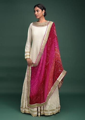 Off White Anarkali Suit In Georgette With Lucknowi Thread Work And Bandhani Printed Shaded Dupatta Online - Kalki Fashion