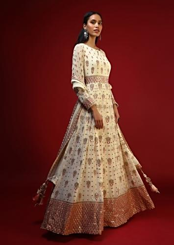 Off White Anarkali Suit With Colorful Resham And Mirror Abla Embroidered Heavy Border Design And Butti Work Online - Kalki Fashion