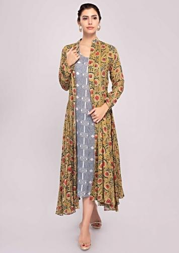 Off White And Blue Tunic Dress Matched With A Floral Printed Long Jacket Online - Kalki Fashion