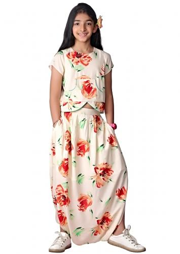 Off White Dhoti Skirt And Crop Top With Floral Print Online - Free Sparrow
