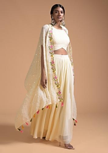 Off White Palazzo Suit In Georgette With A Colorful Resham Embroidered Jacket Online - Kalki Fashion