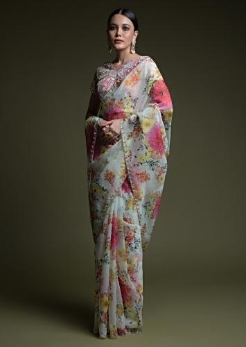Off White Saree In Organza With Multi Colored Floral Print And Matching Embellished Blouse Online - Kalki Fashion