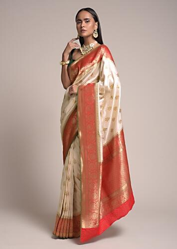Off White Saree In Silk With Woven Butis And Contrasting Red Floral Border Online - Kalki Fashion