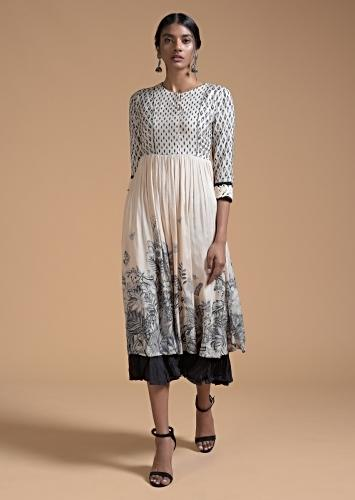 Off White Tunic Dress In Cotton With Ikkat And Nature Inspired Print Along With Frill Online - Kalki Fashion