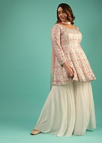 Off White Sharara Suit In Georgette With Peplum Kurti Adorned In Colorful Resham And Mirror Abla Jaal Online - Kalki Fashion