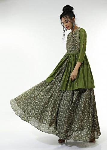 Olive Green Long Dress With Floral Jaal Print And An Attached Peplum Jacket With Front Tie Up And Zari Work Online - Kalki Fashion