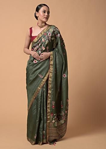 Olive Green Saree In Tussar Silk With Hand Embroidered Floral Motifs Using Thread And French Knots Online - Kalki Fashion