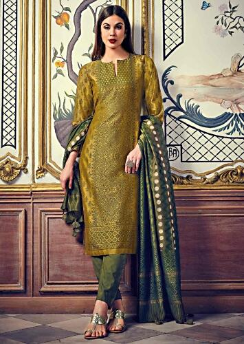 f961cc35d3d Olive green straight suit featuring in silk with polka dots