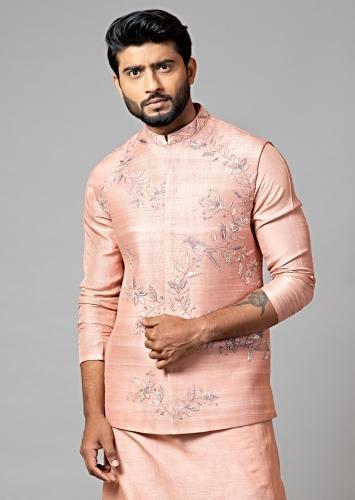 Onion Pink Nehru Jacket With Jaal Embroidery And Resham Work By Smriti Apparels