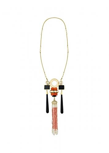 Orange And Gold Long Necklace With An Elaborate Pendant Studded With Coral Beads, Shell Pearls And Black Onyx Accents Online - Joules By Radhika