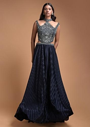 Organic Blue Gown With Embellished Bodice And Halter Neckline With Cut Outs In The Waist Online - Kalki Fashion