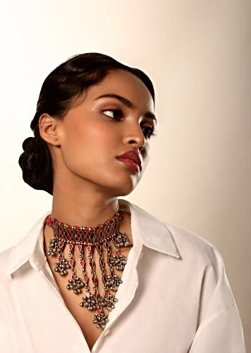 Oxidised Choker Necklace With Red Glass Work And Dangling Fringe Detailing With Ghungru Tassels On The End By Kohar
