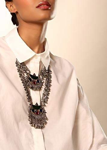 Oxidised Double Layered Necklace With Green, Blue And Pink Glass Work And Mini Ghungru Tassels By Kohar