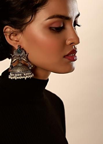 Oxidised Jhumkas With Carved Design, Blue Semi Precious Stone And Dangling Moti Fringes By Kohar
