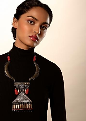 Oxidised Long Necklace With Fancy Carved Triangular Pendant And Dangling Multi Colored Semi Precious Beads By Kohar