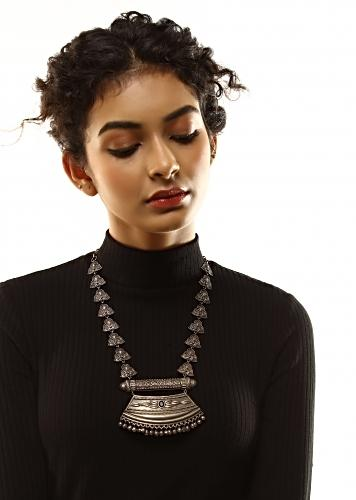 Oxidised Necklace In A Tribal Design With Carved Detailing And Black Stone In The Centre Of The Pendant By Kohar