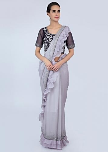 Pale Grey Saree In Shimmer Georgette With Organza Ruffled Hem And Pallo Online - Kalki Fashion