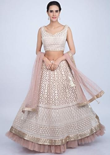 877c24d7395d6c Pale pink lucknowi embroidered net lehenga set only on Kalki