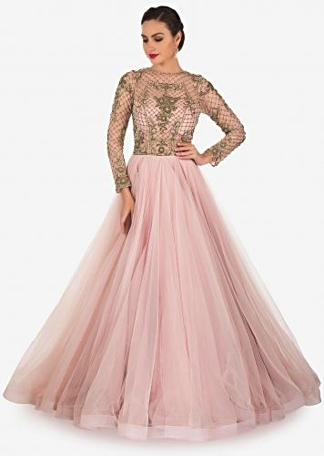 ce1766eb49b Pale Pink Net and Satin Lining Gown Designed with Zardosi Only on Kalki£544