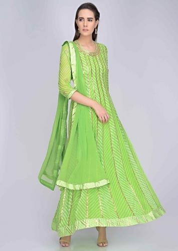 e62cebe43d Parrot green georgette anarkali and matching dupatta with gotta work only  on Kalki