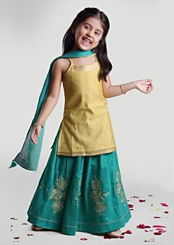 Pastel Green Kurta In Modal Chanderi With Aqua Green Silk Skirt With Resham Embroidered Floral Kalis By Mini Chic