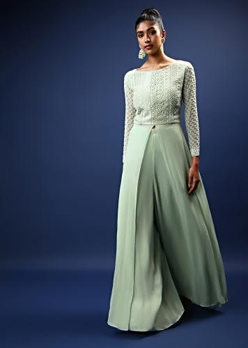 Pastel Green Palazzo Suit In Georgette With A Long Slit Top In Crochet Lace Adorned In Moti Bead Detailing Online - Kalki Fashion