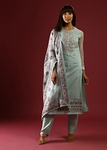 Pastel Green Straight Cut Suit With Multi Colored Thread Embroidered Floral Motifs On The Border And Buttis On The Organza Dupatta Online - Kalki Fashion