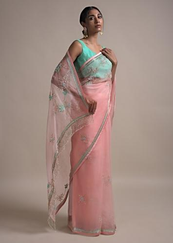 Pastel Pink Saree In Organza Adorned With Sequins, Thread And Pearls Work In Floral Pattern Online - Kalki Fashion