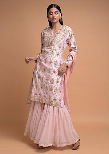 Pastel Pink Sharara Suit In Cotton Adorned With Gotta Patch Embroidered Floral Pattern Online - Kalki Fashion