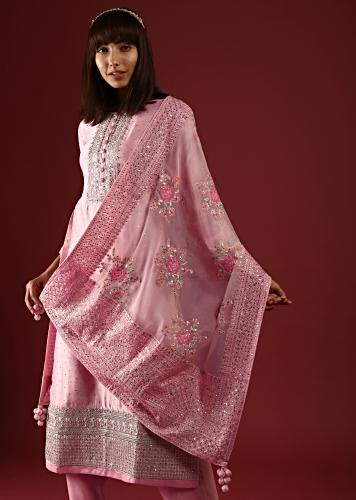 Pastel Pink Straight Cut Suit With Mirror Work On The Yoke And An Organza Dupatta With Multi Colored Thread Embroidered Floral Motifs Online - Kalki Fashion
