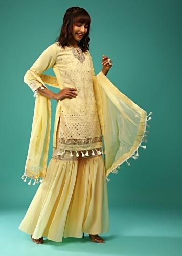 Pastel Yellow Sharara Suit In Georgette With Lucknowi Embroidered Moroccan Jaal Along With Gotta Abla  And Tassel Details Online - Kalki Fashion
