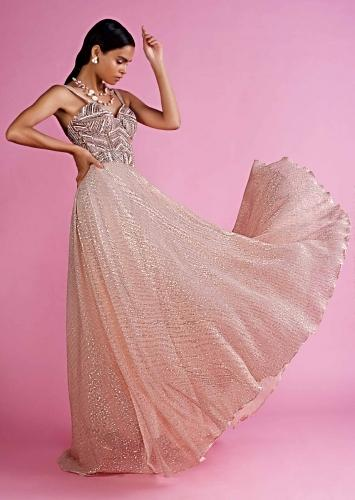 Peach A Line Single Strap Suit With Heavy Embellished Corset Bodice Online - Kalki Fashion