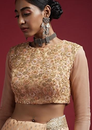 Peach Blouse In Embroidered Net With Colorful Resham And Zari Work In Floral Jaal Motif Online - Kalki Fashion