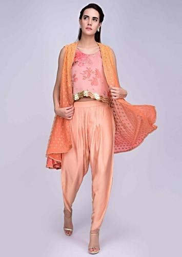 Peach Dhoti With Floral Printed Pink Organza Top And A Shaded Peach Jacket Online - Kalki Fashion