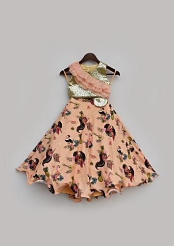 Peach Lehenga With Tropical Print Paired With Sequins Choli Having Organza Frill Detailing By Fayon Kids