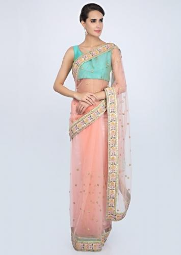 Peach Saree In Net With Floral Embroidered Butti And Border Online - Kalki Fashion