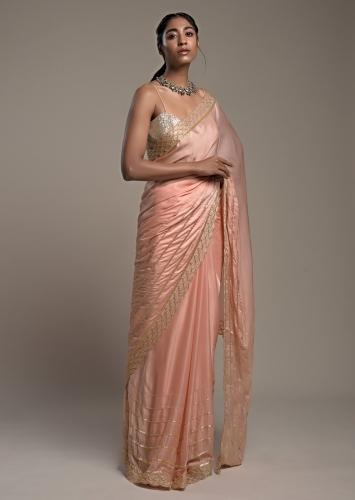 Peach Saree In Satin With Cut Dana And Zardosi Embroidered Stripes And Unstitched Blouse Online - Kalki Fashion