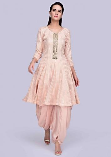 b65e6784941b Peach Self thread embroidered georgette suit with matching dhoti and net  dupatta only on Kalki