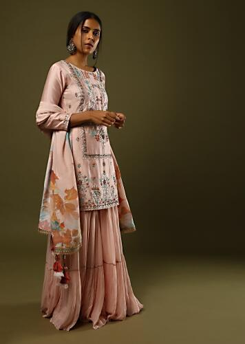 Peach Sharara Suit In Cotton Adorned In Gotta Patti, Colorful Sequins And Zari Embroidery And Printed Dupatta Online - Kalki Fashion