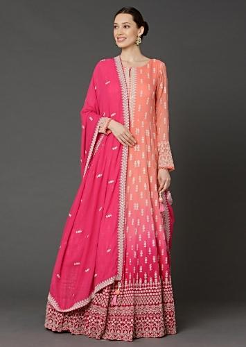 Peach And Pink Shaded Anarkali In Georgette With Lucknowi Thread Embroidered Buttis Online - Kalki Fashion