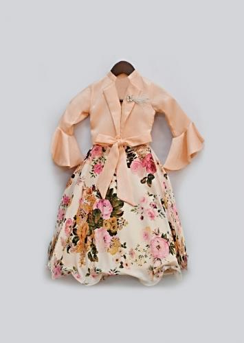 Peach Skirt With Floral Print And Ruffle Crop Top With Lapel Collar Design And Front Bow By Fayon Kids